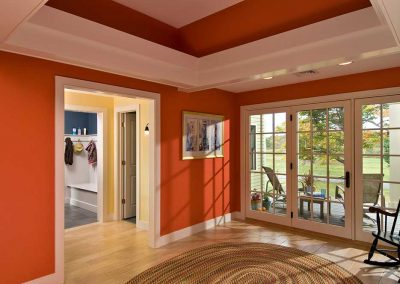 Recessed ceiling adds depth and character.